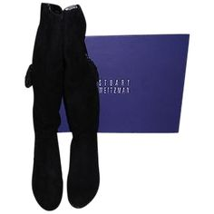 Pre-owned Stuart Weitzman Tass Suede Hidden Wedge Knee High 9m Black... (35545 RSD) ❤ liked on Polyvore featuring shoes, boots, black, hidden wedge boots, black boots, black knee-high boots, black knee boots and tassel boots