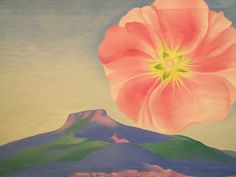 Georgia O'Keeffe Hollyhock Pink with Pedernal 1937 oil on canvas 20 x 30 in. Milwaukee Museum of Art, Milwaukee, Wisconsin Milwaukee Art Museum, Art Institute Of Chicago, Alfred Stieglitz, Pablo Picasso, New Mexico, Georgia O'keefe Art, Georgia O Keeffe Paintings, Hollyhock, Digital Museum