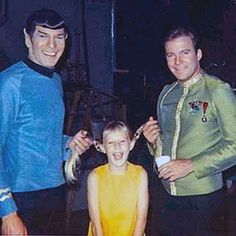 Leonard Nimoy and William Shatner ~Two of Shatner's daughters were in the episode, Miri