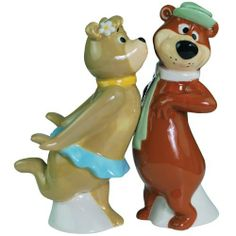 "Westland Giftware Yogi Bear Cindy and Yogi Smooch 4-1/4-Inch Magnetic Salt and Pepper Shakers by Westland Giftware. $12.92. High quality. Wonderful gift item. Cute kitchen accessory. Not microwave or dishwasher safe. Magnetic insert holds the shakers together in a fun pose. Everyone's favorite ""pic-a-nic basket"" stealing bear is back! This magnetic Yogi and Cindy salt and pepper shaker set will bring a little joy into your day.. Save 35%!"