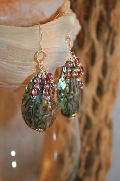 Abalone Shell Dangle Earrings Shimmering Abalone Shell by Cinciata, $46.00