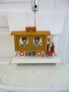 Vintage Nursery Lamp Irmis Wood Train