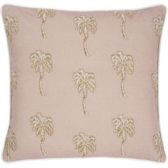 Elizabeth Scarlett Palmier Cushion - 45x45cm - Taupe ($62) ❤ liked on Polyvore featuring home, home decor, throw pillows, neutral, taupe throw pillows, palm tree, cotton throw pillows, tree palm and tree throw pillows