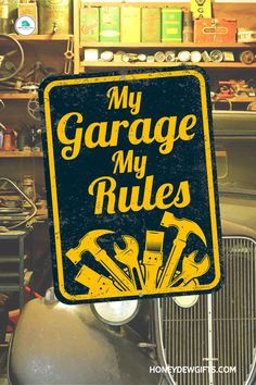 """Nothing expresses your personality than a """"My Garage, My Rules"""" tin sign. It is a funny way to add character and a clever unique way to add decorations, accessories to your car shop, garage, home, or office!These retro vintage tin signs are made from top-quality materials and printed perfectly on a tinplate, sure to catch everyone's attention. These tin signs funny great for indoors or outdoors!These garage signs for dad are also a fantastic gift for your friends, family, brother, husband! Vintage Tin Signs, Retro Vintage, Garage Signs, Decorative Signs, Novelty Items, Box Signs, Car Shop, Metal Tins, Gift Store"""