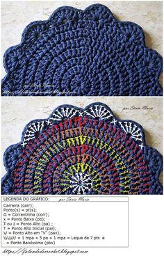 Amo tapetes desse modelo e nes Crochet Potholder Patterns, Crochet Placemats, Crochet Mat, Crochet Carpet, Crochet Diagram, Crochet Doilies, Crochet Stitches, Diy Crafts Crochet, Crochet Projects