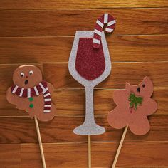 Gingerbread Cookies --- Candy Cane Drink --- Christmas Photo Booth Props --- Holiday Party --- Xmas Props --- Glitter Props