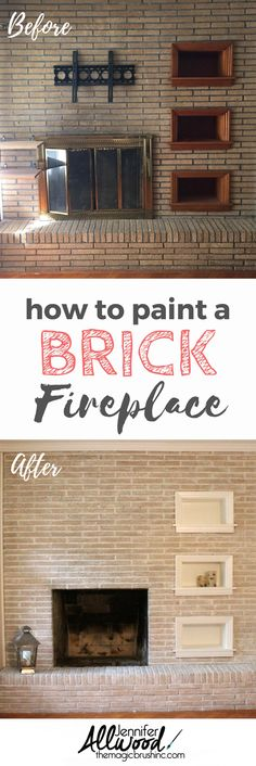 Stunning Fireplace Makeover  | The Magic Brush | How to paint a Brick Fireplace and makeover your living room | Painted Brick Fireplace ideas
