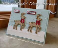 2016 SU Holiday Catalog ~ Santa's Sleigh Bundle (sneak peek) | Here is the second of 3 cards am I designing for a swap | Clean & simple is my motto here, as well as sparkle and shine. | designed by Carol Lovenstein www.pinkstampagne... | Stampin' Up! Card Idea