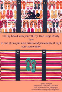 The Large Utility Tote by Thirty-One Gifts is perfect for all your summer fun carrying needs!  Use it to carry all your beach gear this summer - everything from towels and beach toys to snacks and paper goods.  Add the Top-A-Tote to keep all the sand out of your bag.  Pick a fun print and add your favorite Icon-it to make it uniquely yours.  Shown here is here is Fun Flops with the Swim Icon-it in navy and Pinstripe Punch with Flip-flops Icon-it in True Turquoise and Coral. Large Utility Tote, Thirty One Consultant, Beach Gear, Beach Toys, Summer Fun, 2017 Summer, Coral, Turquoise, Thirty One Gifts