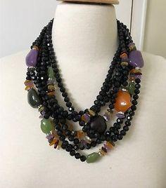 Spectacular Angela Caputi Black, Multi Color Resin Beads & Rhinestone Necklace