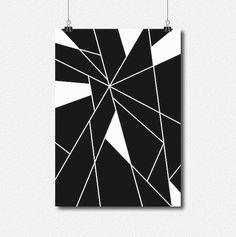 Geometric Minimal Black and White Abstract Digital by lakeandart