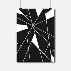 Geometric Minimal Black and White Abstract Digital by lakeandart