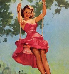 Let's share the world of fantasy: Vintage Pin-Up girls Illustrations Gil Elvgren Gil Elvgren, Pin Up Girl Vintage, Retro Pin Up, Vintage Art, Retro Style, Estilo Pin Up, Pin Up Photos, Girl Photos, Pin Up Girls