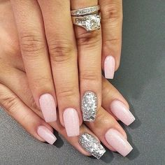 Pink with silver glitter accent