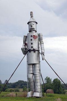 32-foot tall tin man with bathtubs for feet, Bird Farm, Forkland, AL