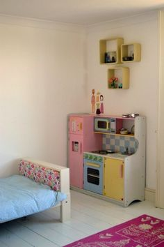 Our toy kitchen is perfect in this little girl's room. New design is here - http://www.poshtots.com/gifts/seasonal/holiday-gifts-and-toys/hideaway-playtime-kitchen/16/3616/3432/31990/poshproductdetail.aspx @PoshTots #poshtots #toykitchen