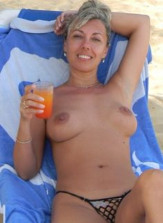 Wife first time topless beach