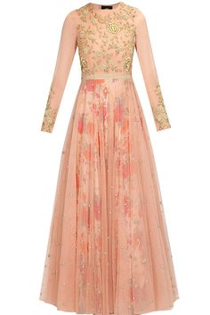 Love the skirt, would probably get in another color / Blush pink floral work overlayered anarkali suit available only at Pernia's Pop Up Shop. Indian Gowns, Indian Attire, Ethnic Outfits, Indian Outfits, Latest Designer Sarees, Designer Dresses, Salwar Kameez, Anarkali Dress, Lehenga