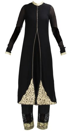 Black straight kurta set with buttons on the front and gold embroidery by RIDHI MEHRA. Shop at https://www.perniaspopupshop.com/whats-new/ridhi-mehra