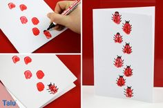 Ladybirds tinker with children - Instructions with template - Talu.de - Ladybirds tinker with children – Instructions with template – Talu. Easy Crafts, Crafts For Kids, Call Art, Art Education, Summer Nails, Handicraft, Birthday Invitations, Templates, Cards