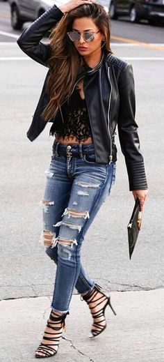 #summer #outfits Black Leather Jacket + Black Lace Top + Ripped Skinny Jeans