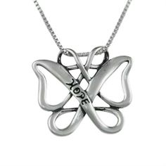 """Sterling Silver Infinite Hope Celtic Butterfly Gift Pendant Sterling Gifts To Inspire. $29.98. Sterling Box Chain Measures 18""""L and Secures with Spring Ring Clasp. Freeform Celtic Butterfly Stamped with """"Hope"""" on Front. Pendant Measures  1-3/8"""" L x 1"""" W. Lifetime Warranty on Jewelry, Proudly American Made. Genuine .925 Sterling Silver. Save 44%!"""