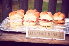 Ham & Smoked Mozzarella sliders with BBQ sauce. Perfect finger foods for our housewarming/anniversary party!