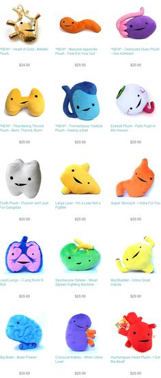 I Heart Guts : I want to order these plush organs look how cute they are !!!