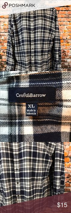 Croft & Barrow Mens Size XL Plaid Flannel Shirt Barely Worn. Von Saken Women Size Medium Sweater. Long Sleeves. Black.  Rhinestone zipper front. Made of 100% Cotton. Chest approximately 45 inches and length approximately 23 inches.  Measurements are approximate. Visit our Store for a great selection of new and used items. croft & barrow Shirts Casual Button Down Shirts