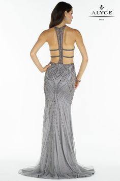 Alyce Paris | Strappy back silver beaded tulle gown with sweetheart halter top, side cut out and stunning open back. | Perfect for prom, pageant, or bridesmaid dresses!