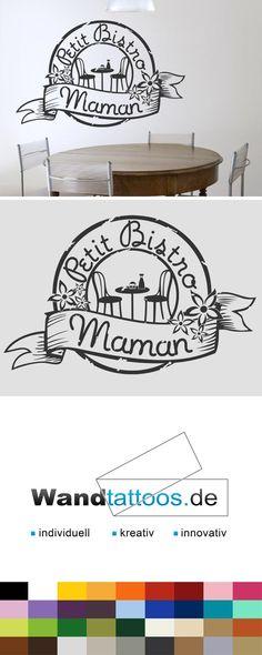 Wandtattoo Button Petit Bistro Maman als Idee zur individuellen Wandgestaltung. Einfach Lieblingsfarbe und Größe auswählen. Weitere kreative Anregungen von Wandtattoos.de hier entdecken!