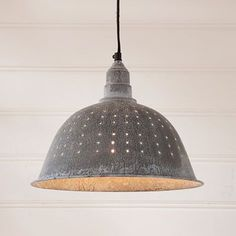 "Colander Zinc Pendant Bring vintage country style and beauty to your kitchen or dining room when you add this Colander Pendant Light to your home decor. This pendant light measures 9.75"" H x 12"" Dia."