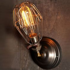 Custom made - Metal Cage Edison Wall lamp with vintage style Edison bulb and black cage What you will get: • Edison t64 bulb 40w 110 or 220v ( i will send