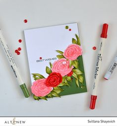 You can create several different roses by just using one and cutting out some parts from it. With Altenew Penned Rose. Details: http://craftwalks.com/2016/04/19/altenew-stamp-focus-penned-rose-video/