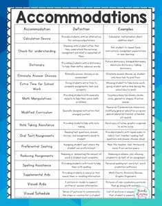 Accommodations are to be done by law for special education students. This quick reference sheet is included in my special education teacher binder of frequently used accommodations with examples. Student Teaching, Teaching Resources, Individual Education Plan, Learning Support, School Social Work, Instructional Coaching, Teacher Binder, Special Education Classroom, Character Education