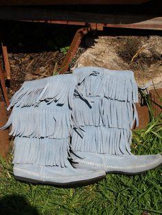 Rare Light Blue Tall Minnetonka Fringe Boots 8 by socialROGUE, $49.99