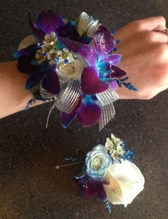 Blue Orchids with White Roses Wrist Corsage & Boutonniere  http://www.pristinefloraldesign.com/  https://www.facebook.com/PristineFloralDesign