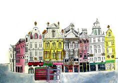 Brussels A3 Print by Juliapott