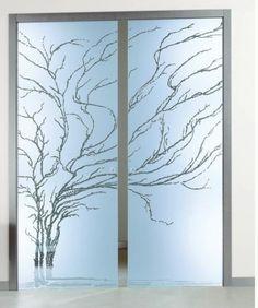 Albero Frameless Pocket Doors - etched glass