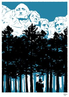 """Under Rushmore"" by Matt Taylor  ""North by Northwest"" Poster"