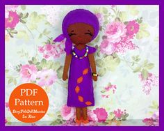 The Color Purple Doll. Sweet African Girl.Dolls of the world.Felt Doll. Felt pattern. PDF Pattern. Sewing pattern. Felt Crafts.