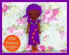 The Color Purple Doll. Sweet African Girl.Dolls of the world.Felt Doll. Felt pattern. PDF Pattern. Sewing pattern. Felt Crafts.