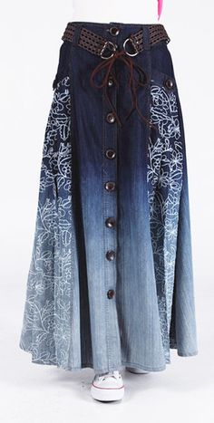 Venta al por mayor de Bohemia Vintage 100% mujeres del algodón largo de la falda de mezclilla lindo bolsillo ocasional de moda Jeans Maxi faldas con para mujer en Faldas de Moda y Complementos Mujer en AliExpress.com | Alibaba Group