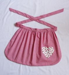 Half apron red cherries with heart pocket on Wanelo