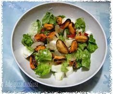 Ensalada de mejillones   Cals: 275kcal | Grasa: 14,32g | Carbh: 10,44g | Prot: 27,01 g    Mis platos suelen ser con medidas para ser pla...