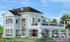 2724 square feet Colonial home design Colonial model 4 bedroom, 2724 square feet home design by Sthapathy Builders from Kannur, Kerala. Bungalow Haus Design, Duplex House Design, House Front Design, House Plans Mansion, Dream House Plans, Modern House Plans, Flat Roof House, Facade House, Classic House Design