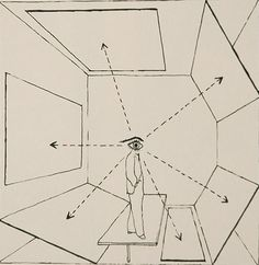 Rhode was strongly inspired by the Bauhaus artist and teacher Herbert Bayer's famous diagram from 1935 depicting the eye's perception of three-dimensional space; Bayer's illustration shows a figure surrounded by geometric planes and their awareness of a 360 degree field of vision. Diagram extended field of vision (Herbert Bayer, 1935), Visual Communication, Architecture, Painting, New York, Reinhold publishing corporation, 1967