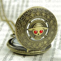 The ancient bronze Anime One piece pocket watch necklace