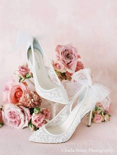 Romantic embellished bridal shoes with bow back Bridal Sandals, Bridal Shoes, Beach Sandals, Evening Flats, Tulle Bows, Shoe Crafts, Wedding Shoes Heels, Floral Heels, Comfortable Heels