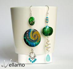 Green and blue long modern asymmetrical dangle by byVellamo, $38.00